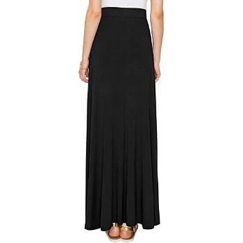 5. Lock and Love Women's Stylish Print/Solid High Waist Flare Long Maxi Skirt