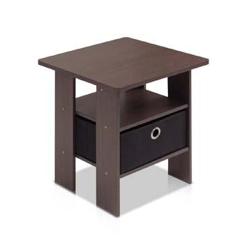 5: Furinno End Table Bedroom Night Stand w/Bin Drawer, Dark Brown/Black