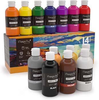 9. Magicfly Bulk Acrylic Paint Set, 14 Rich Pigments Colors (240 ml/8.12 fl. oz.)