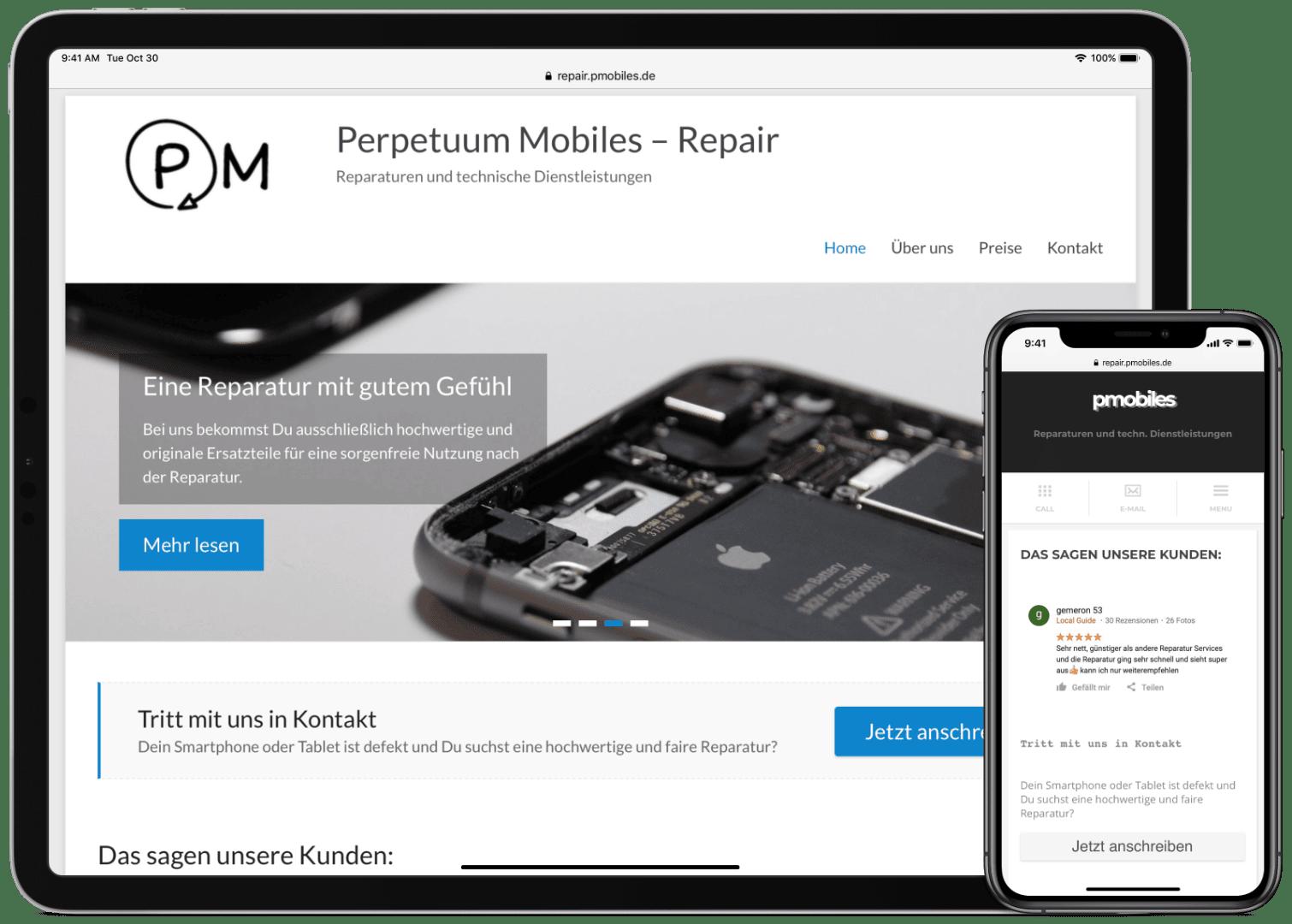 Website von PMOBILES auf einem Tablet und einem Smartphone mit Ansicht der jeweiligen Landingpage. Das Smartphone hat eine gesonderte, mobiloptimierte Version