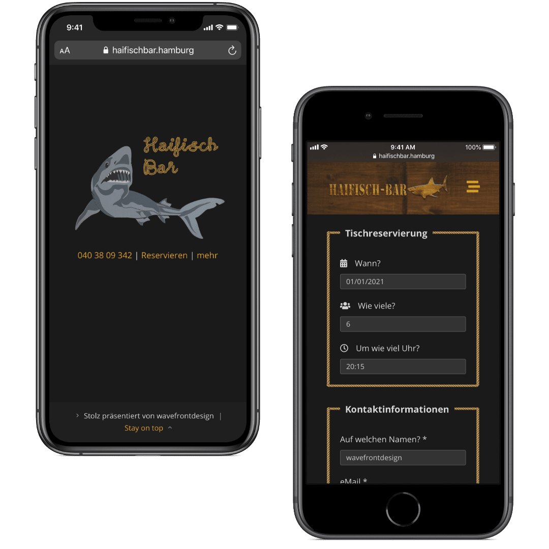 Die Website der Haifischbar Hamburg auf zwei Smartphones, mit Ansicht der Startseite, bzw. des Reservierungsformulars.