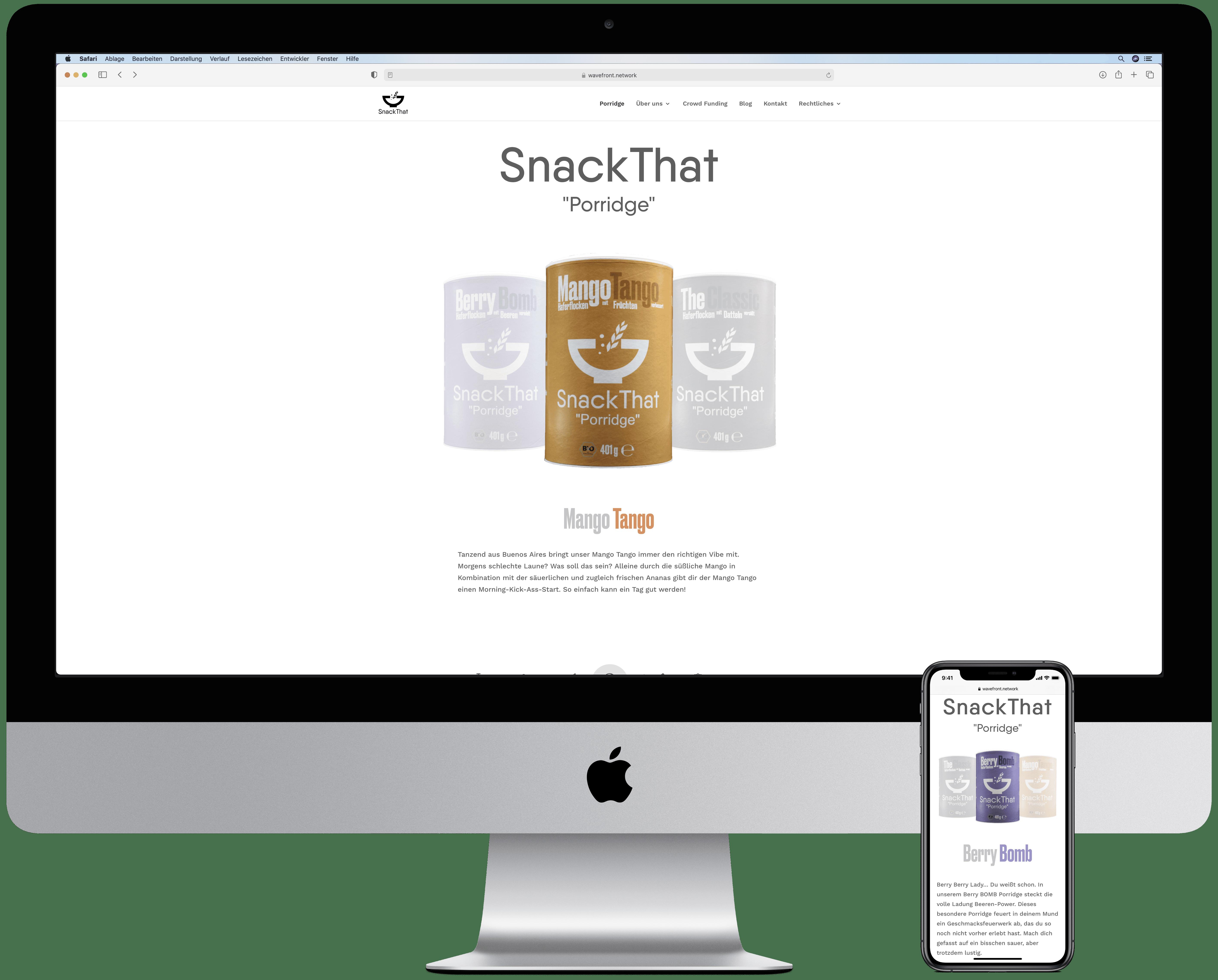 Website von Snackthat auf einem Desktop und einem Smartphone mit jeweiliger Ansicht des eigens entworfenen Produktkarussells.