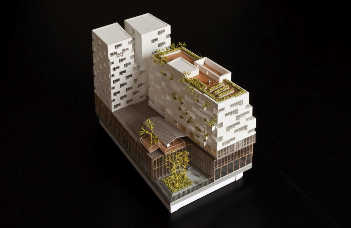 Maquette de concours architecture de l'avenue de France SOA au 1/500ème