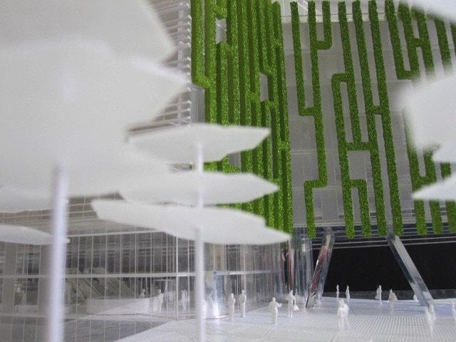 Maquette de concours architecture transparent de la cité administrative de Bordeaux par Jacques ferrier au 1/200ème