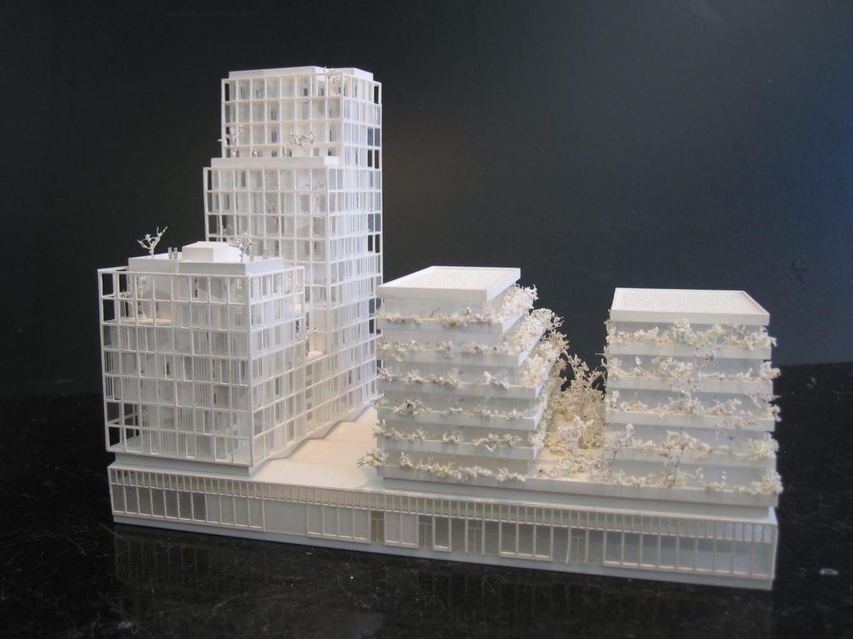 maquette de concours par SOA architecte de Baud Chardonnais à Rennes au 1/500ème