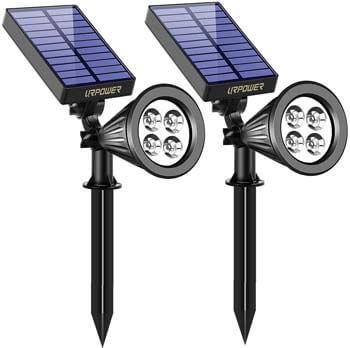 5: URPOWER Solar Lights, 2-in-1 Waterproof 4 LED Solar Spotlight