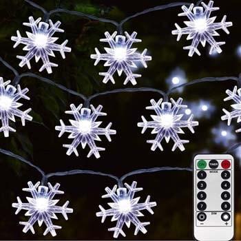 9: Homeleo 50 Led Cold White Snowflake LED Fairy Lights