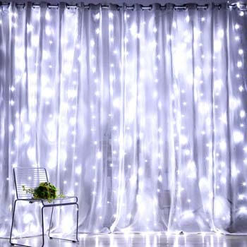 4: Fiee Fairy Curtain Lights, 304 LED 9.8ftX9.8ft 30V 8Modes safety Window Lights