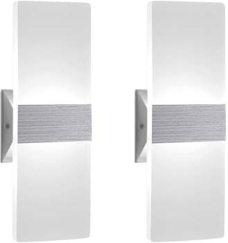 5: Modern Wall Sconce 12W, Set of 2 LED Wall Lamp Cool White