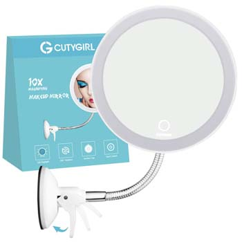 4: Cutygirl 10X Magnifying Mirror with Light Makeup Mirror