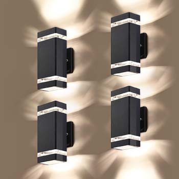 4: LMP 4 Pack LED Square Up and Down Lights Outdoor Wall Light