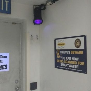 UV light and sign for SmartWater
