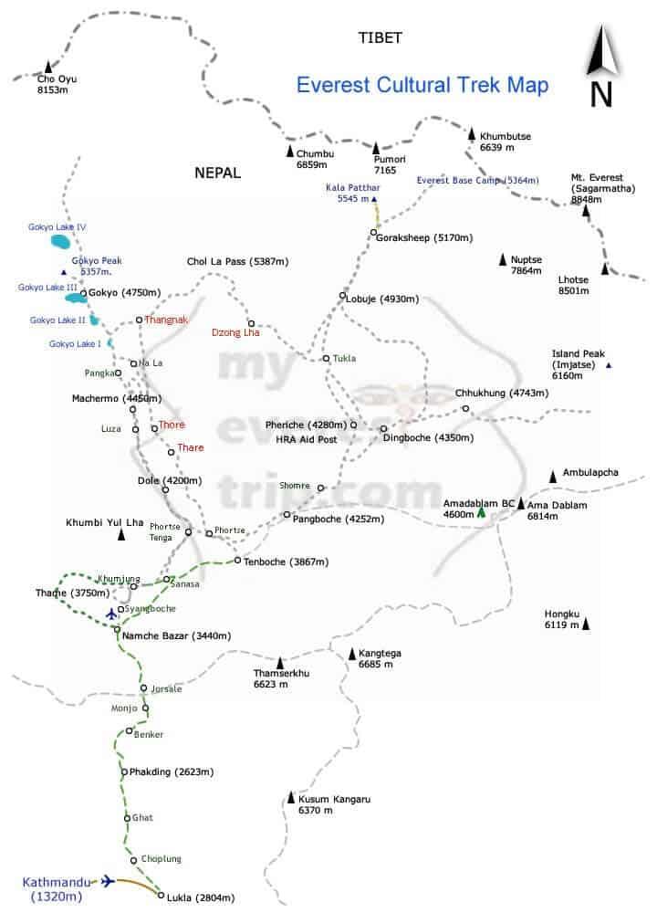 Everest Cultural Trek Map