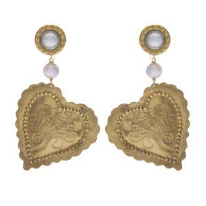 Orecchini in ottone Cuori imbossati e perle