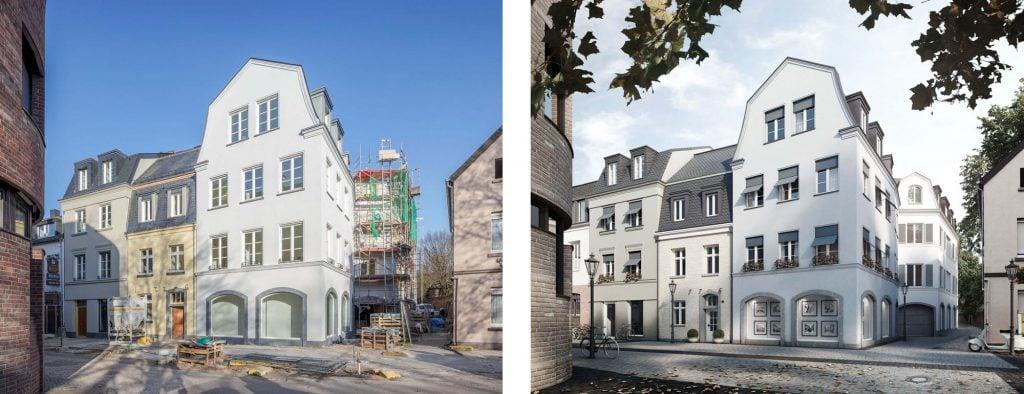 Comparison photo and rendering of Perterstrasse development