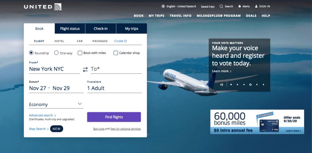 United lança ferramenta para ajudar a escolher destinos de viagem