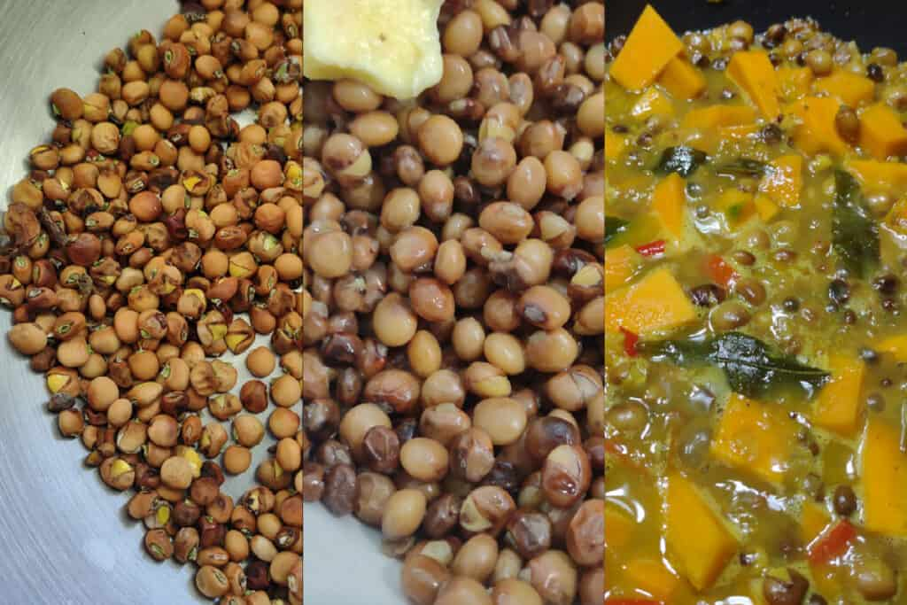 cooking pigeon peas wash soak boil curry
