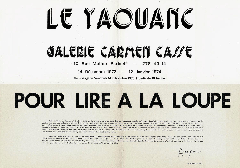 Pour lire à la loupe (Louis Aragon, 1973). Archives Le Yaouanc