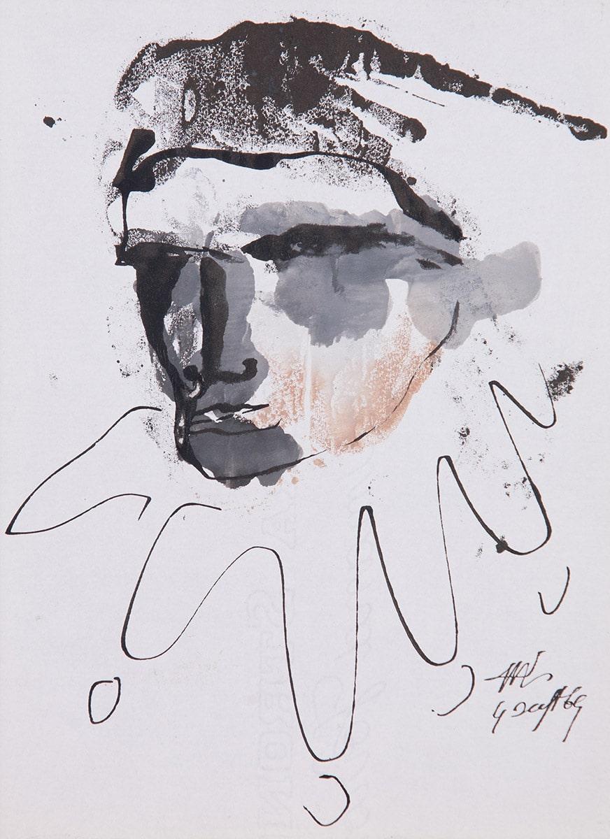 Tête d'homme, gouache et encre de Chine, 1969. Coll. privée, Paris. Photo: Allen Le Yaouanc