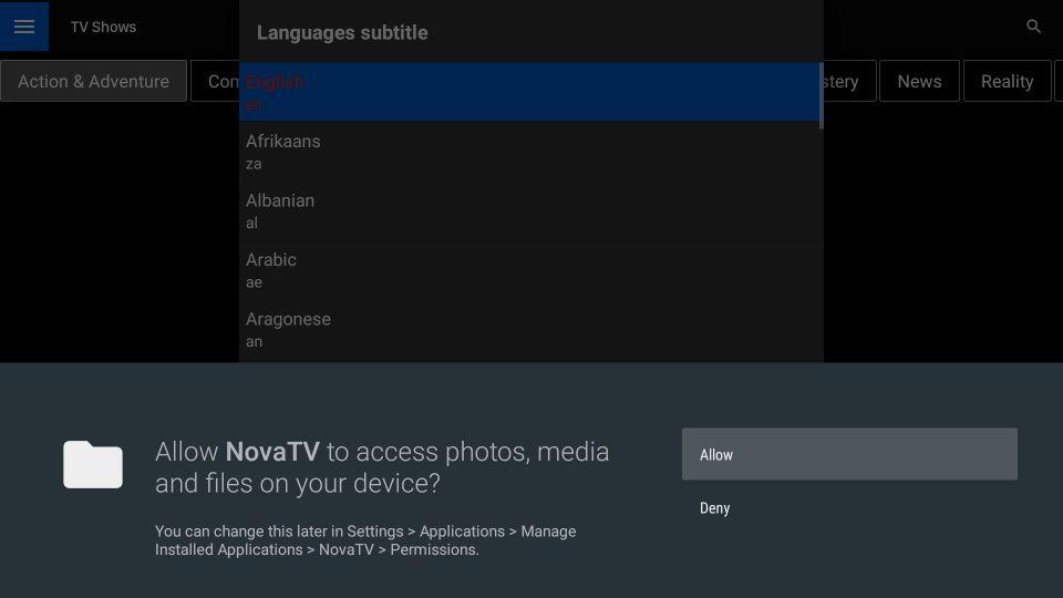 nova tv firestick app