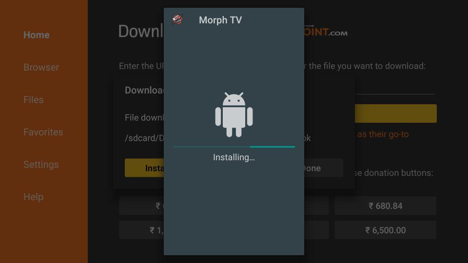 wait for Morph TV to install