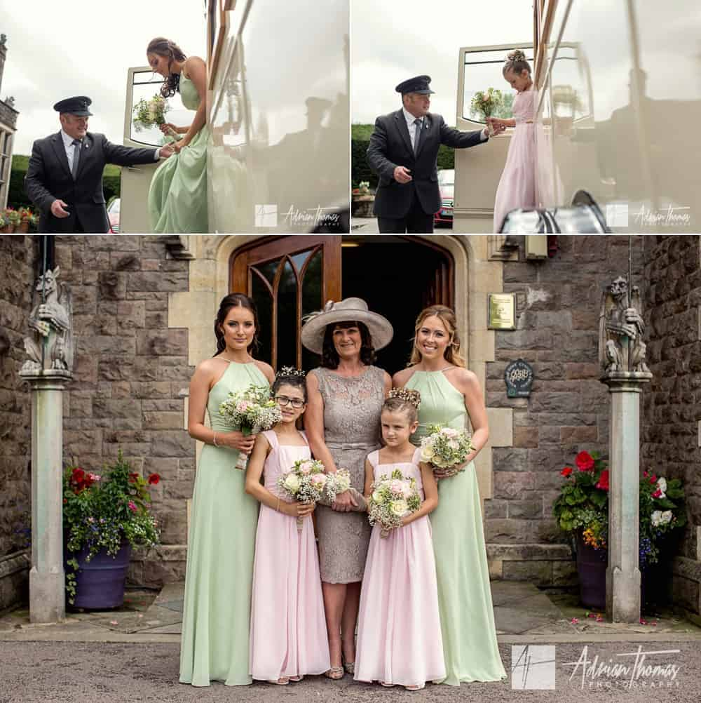 Bridesmaids and mum arrive at Miskin Manor Hotel wedding