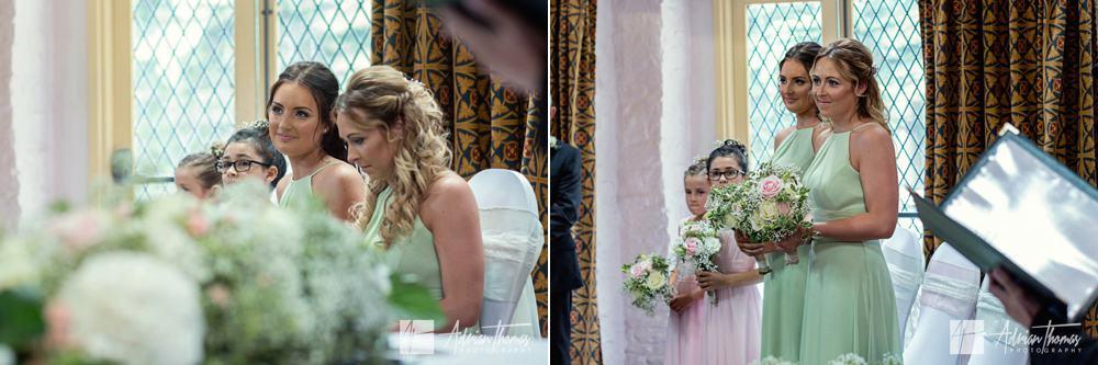 Bridesmaids during wedding ceremony .