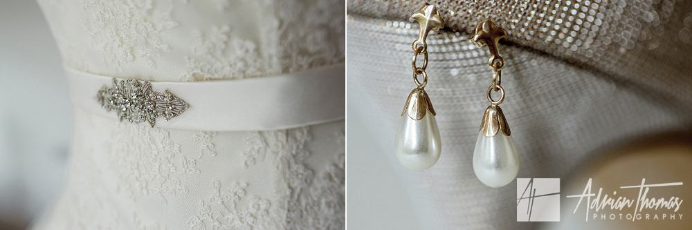 Brides wedding dress and earings