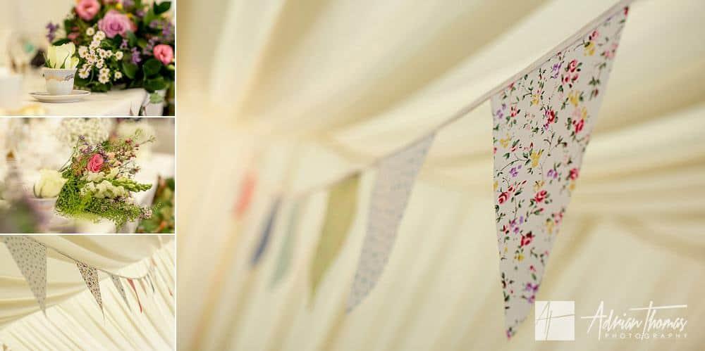 Vintage buntings around wedding reception