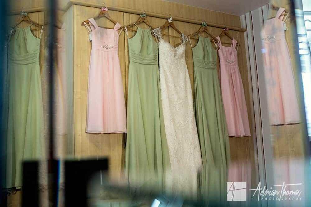 Bridesmaids and bride wedding dresses.