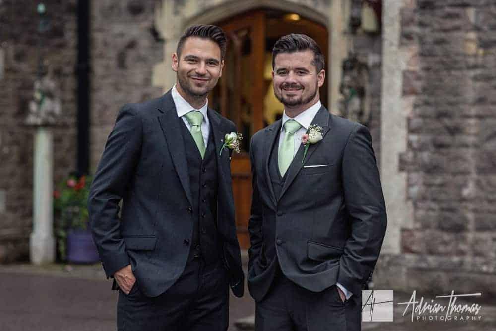 Groom and bestman at wedding.