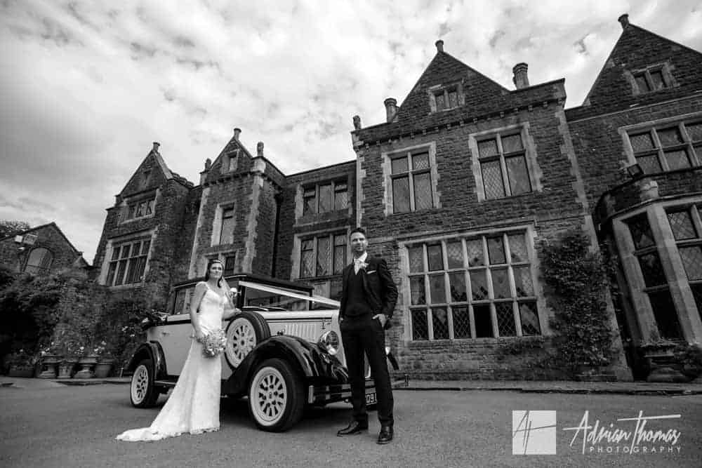 Image of married couple at Miskin Manor Hotel wedding