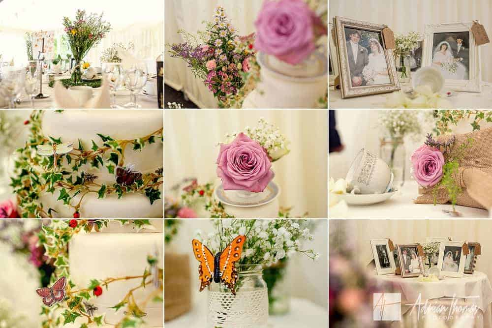 Reception details in marquee at Cardiff wedding at The New House Hotel