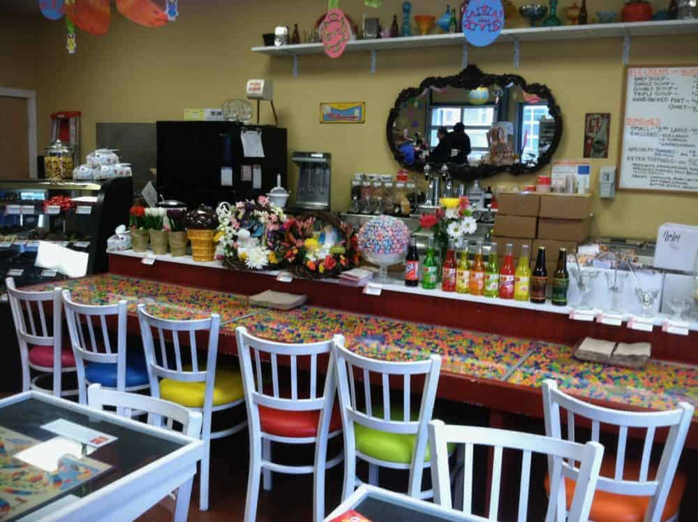 The colorful soda fountain at lifes so sweet in the finger lakes.
