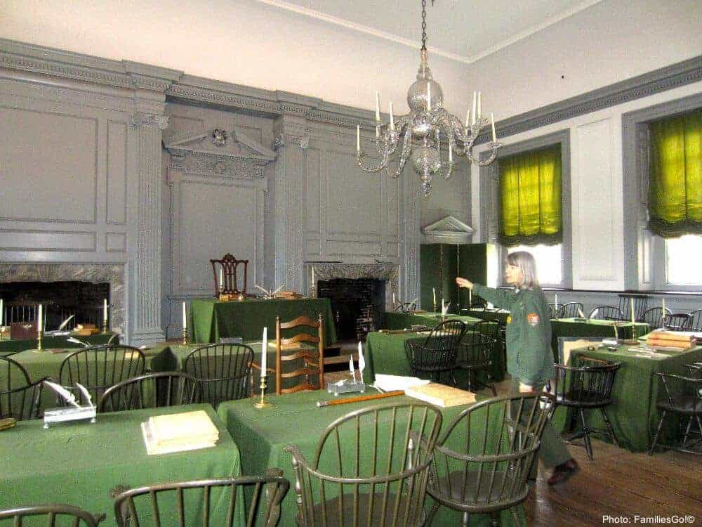 An nps ranger at independence hall