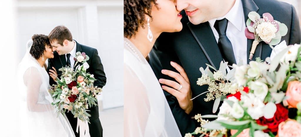 bride and groom romantic portraits, wedding couple kissing
