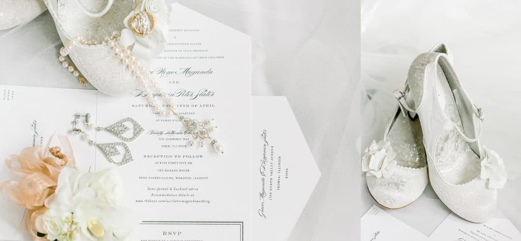 wedding shoes closeup, wedding invitations with jewelry on it