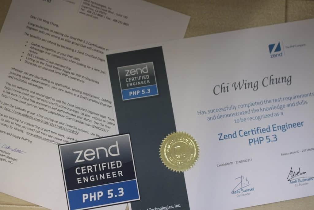 Zend Certified Engineer PHP 5.3 Certificate