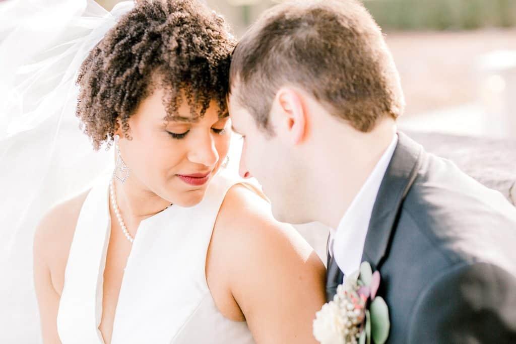 romantic portrait of bride and groom by chicago wedding photographer bozena voytko