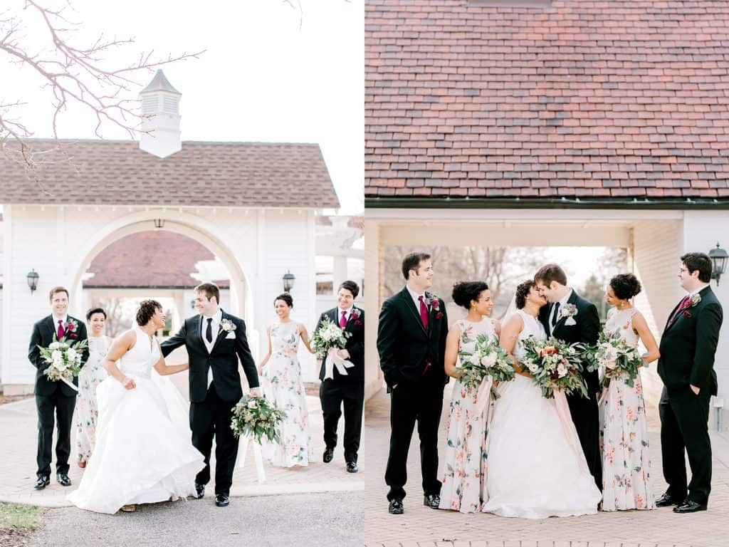 bridal party portraits, bride and groom kissing