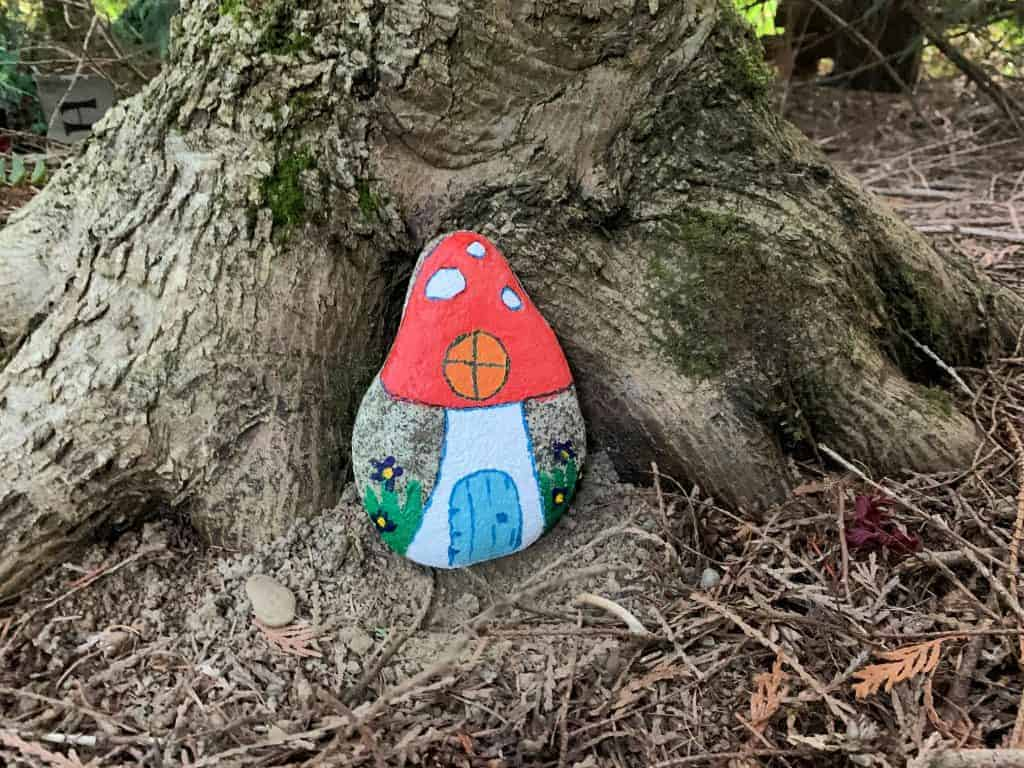 painted rock fairy house complete