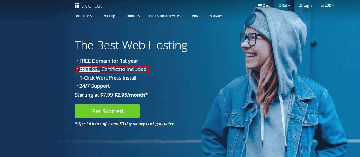 bluehost review - SSL certificate