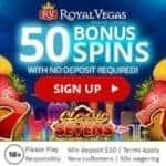 Royal Vegas Casino 50 no deposit free spins on Classic Sevens