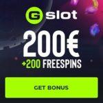 GSlot Casino 100 gratis spins and 100% free bonus on deposit
