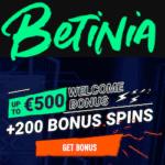 Betinia Casino & Sportsbook - 100% bonus and 200 free spins