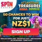 Buy $1 get 50 free spins on Atlantean Treasures at Spin Casino