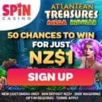 Get 50 free spins bonus on Atlantean Treasures Mega Moolah