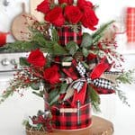 Christmas Centerpiece Holiday Floral Arrangement with Bow and Roses