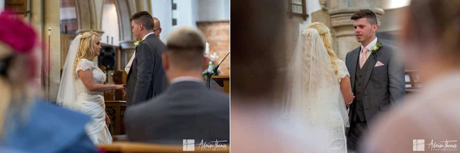 Couple exchanging vows during St Martin's Church Caerphilly wedding.