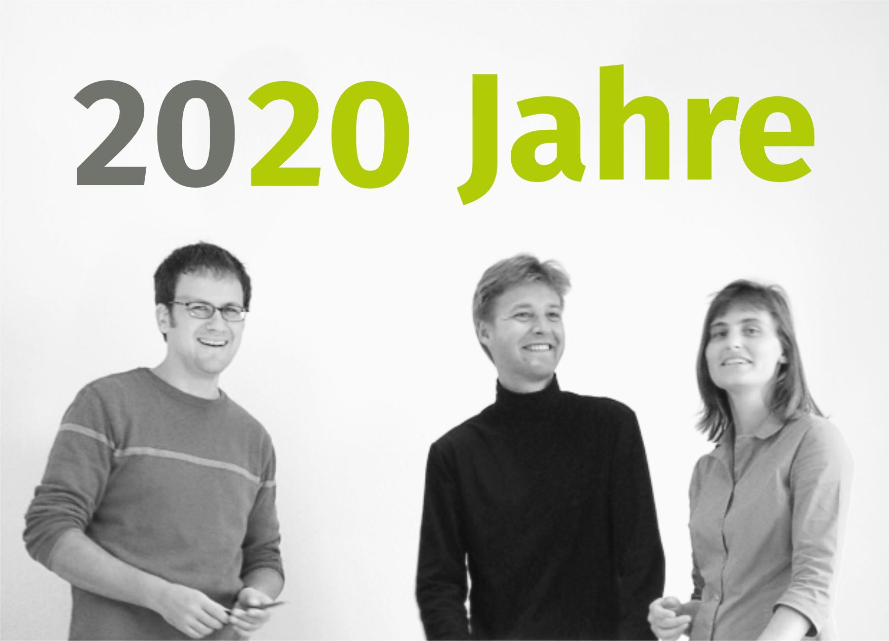 Bild: Die drei Gründer Wenk, Rümpelein, Kröniger von ver.de vor 20 Jahren, Foto: ver.de